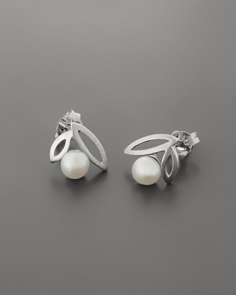 Σκουλαρίκια λευκόχρυσα Κ14 με μαργαριτάρια   γυναικα σκουλαρίκια σκουλαρίκια μαργαριτάρια