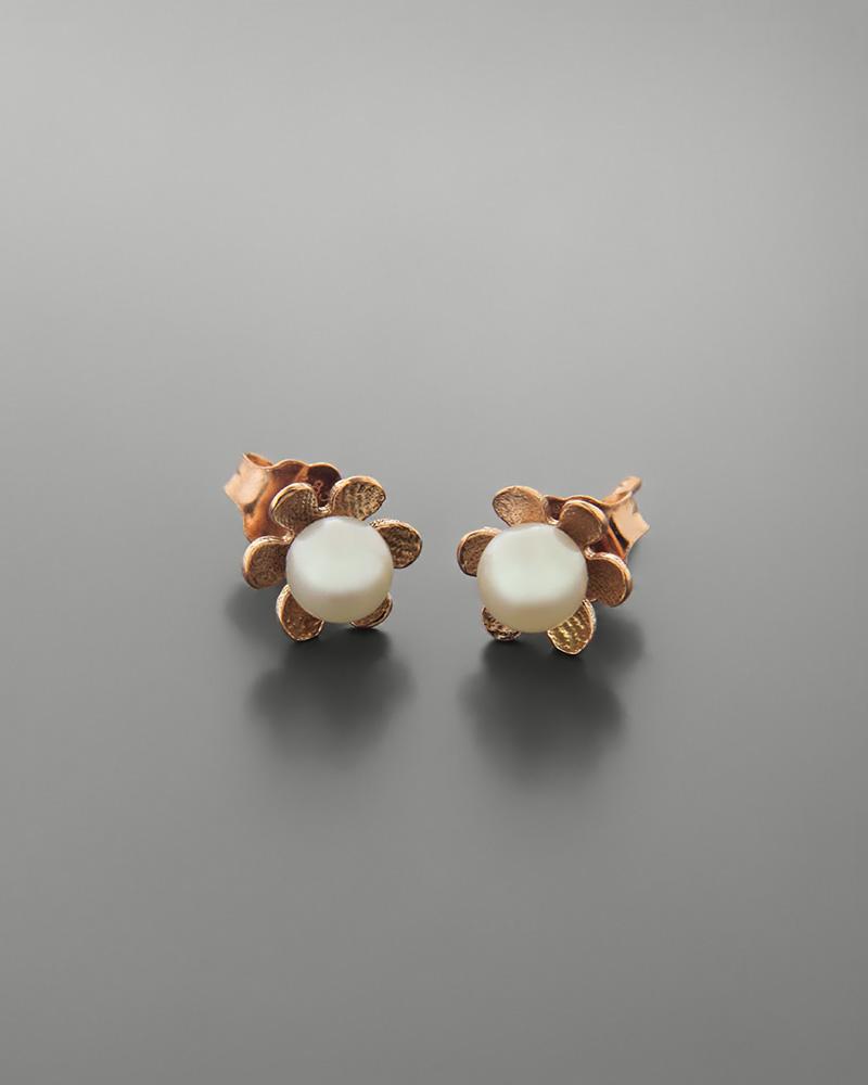 Σκουλαρίκια ροζ χρυσά Κ14 με μαργαριτάρια   κοσμηματα σκουλαρίκια σκουλαρίκια μαργαριτάρια