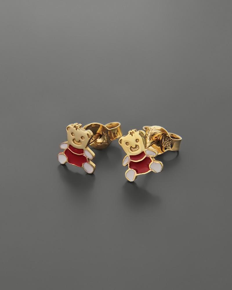 Σκουλαρίκια αρκουδάκι παιδικά χρυσά Κ14 με σμάλτο   παιδι σκουλαρίκια παιδικά