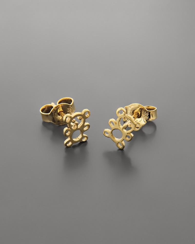 Σκουλαρίκια αρκουδάκι παιδικά χρυσά Κ14   παιδι σκουλαρίκια παιδικά
