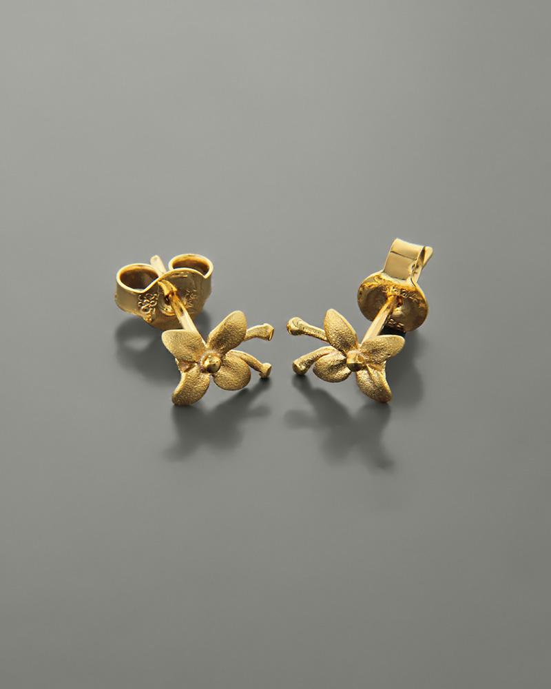 Σκουλαρίκια λουλούδι χρυσά Κ14   γυναικα σκουλαρίκια σκουλαρίκια χρυσά