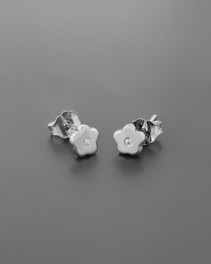 Σκουλαρίκια λουλούδι λευκόχρυσα Κ14 με ζιργκόν   παιδι σκουλαρίκια παιδικά