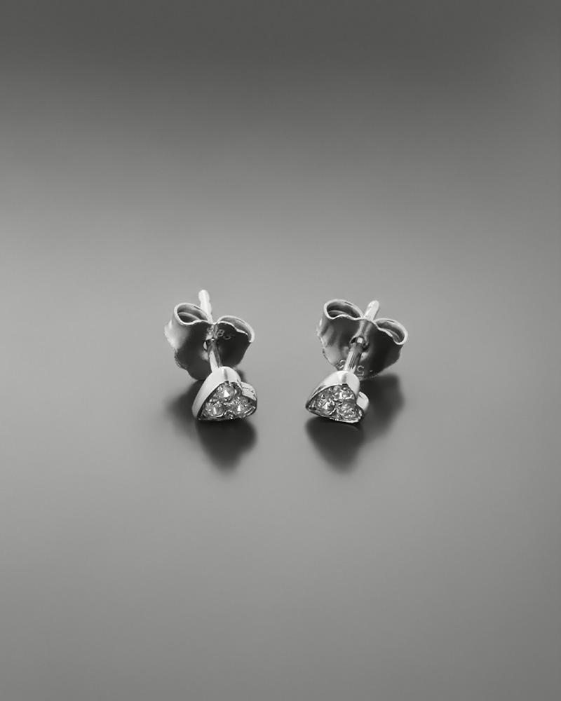 Σκουλαρίκια καρδιά λευκόχρυσα Κ14 με ζιργκόν   παιδι σκουλαρίκια παιδικά