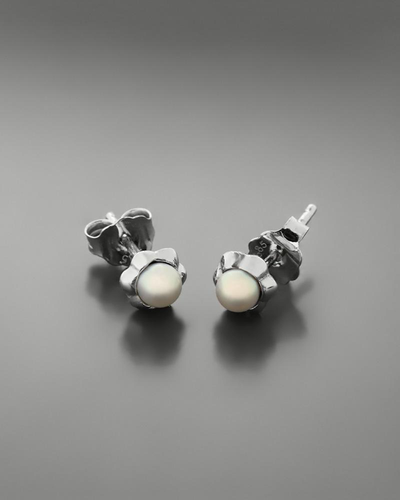 Σκουλαρίκια λουλούδι λευκόχρυσα Κ14 με μαργαριτάρια   γυναικα σκουλαρίκια σκουλαρίκια μαργαριτάρια