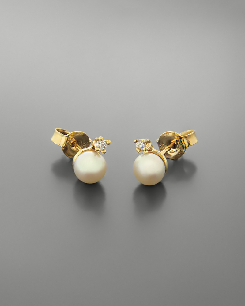 Σκουλαρίκια από χρυσό Κ14 με μαργαριτάρια και ζιργκόν   γυναικα σκουλαρίκια σκουλαρίκια μαργαριτάρια