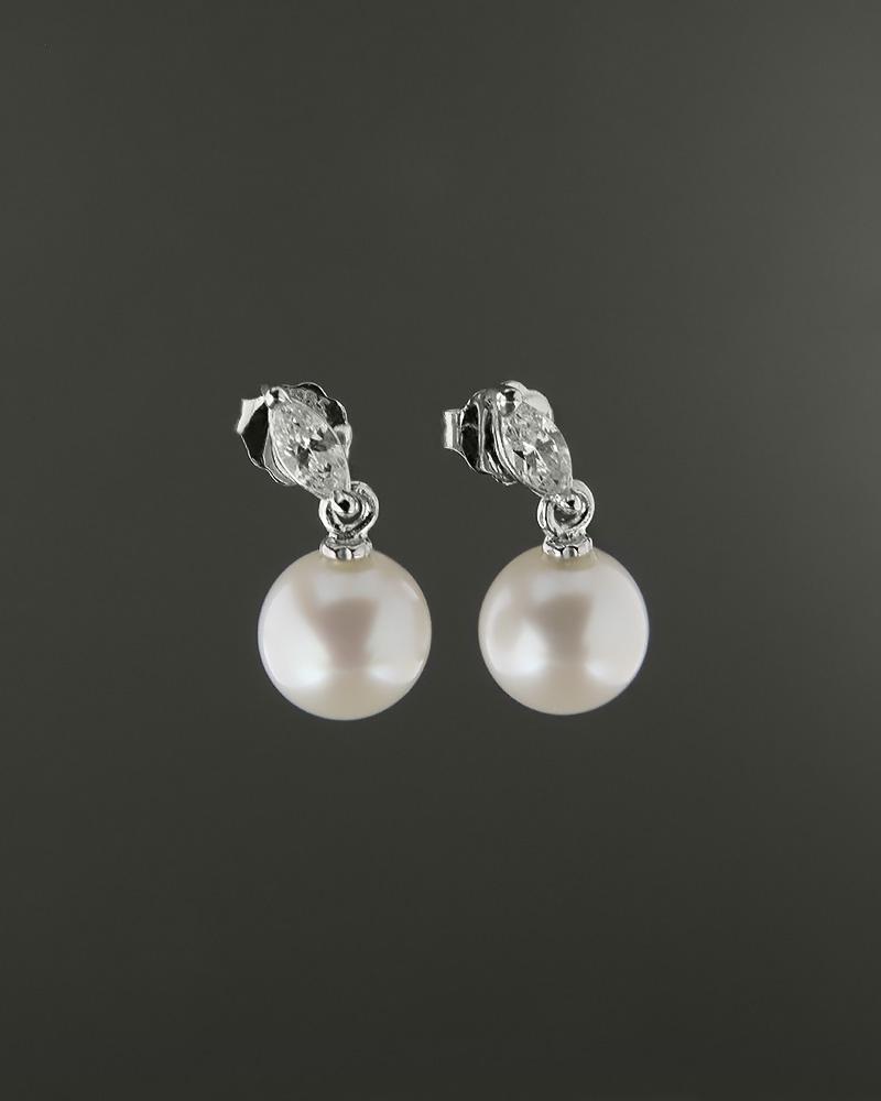Σκουλαρίκια λευκόχρυσα Κ14 με μαργαριτάρι και ζιργκόν   κοσμηματα σκουλαρίκια σκουλαρίκια μαργαριτάρια