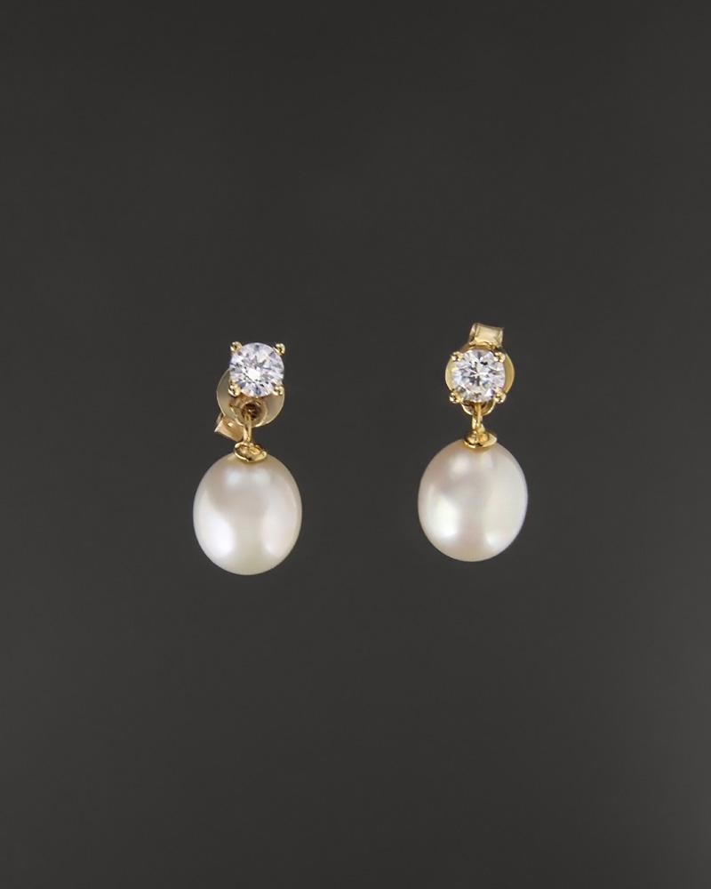 Σκουλαρίκια χρυσά Κ14 με μαργαριτάρια και ζιργκόν   κοσμηματα σκουλαρίκια σκουλαρίκια μαργαριτάρια