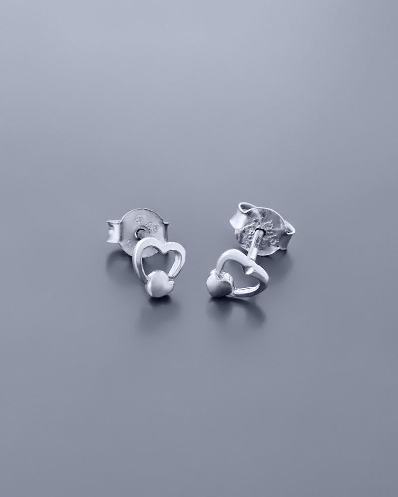 Σκουλαρίκια καρδιές λευκόχρυσα Κ14   γυναικα κοσμήματα με καρδιές