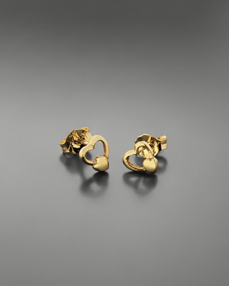 Σκουλαρίκια καρδιά χρυσά Κ14   κοσμηματα κοσμήματα με καρδιές