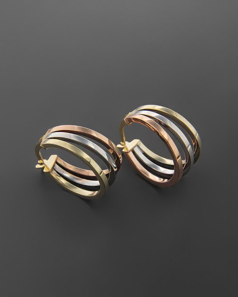 Σκουλαρίκια κρίκοι χρυσά, λευκόχρυσα & ροζ χρυσά Κ9   νεεσ αφιξεισ κοσμήματα γυναικεία
