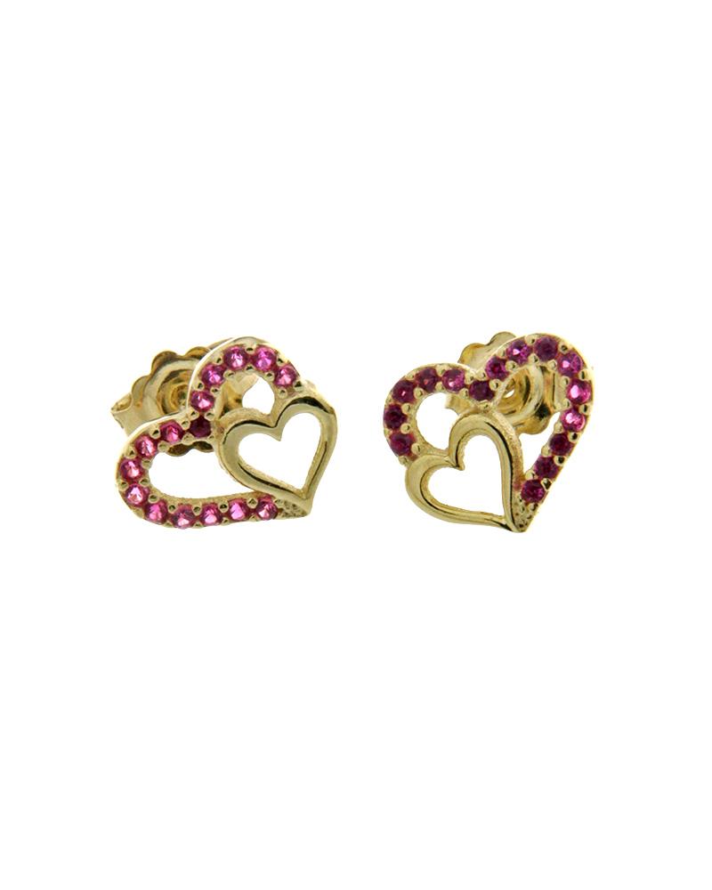 Σκουλαρίκια καρδιές χρυσά Κ9 με ζιργκόν