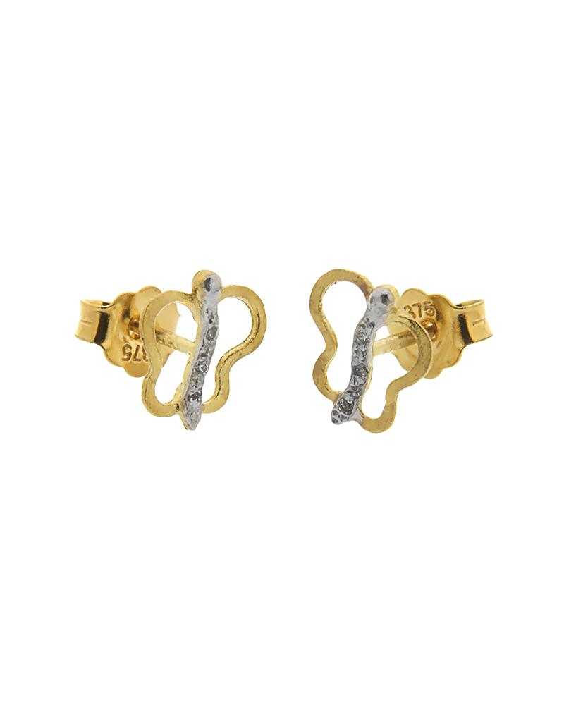 Σκουλαρίκια πεταλούδα χρυσά και λευκόχρυσα Κ9 με ζιργκόν