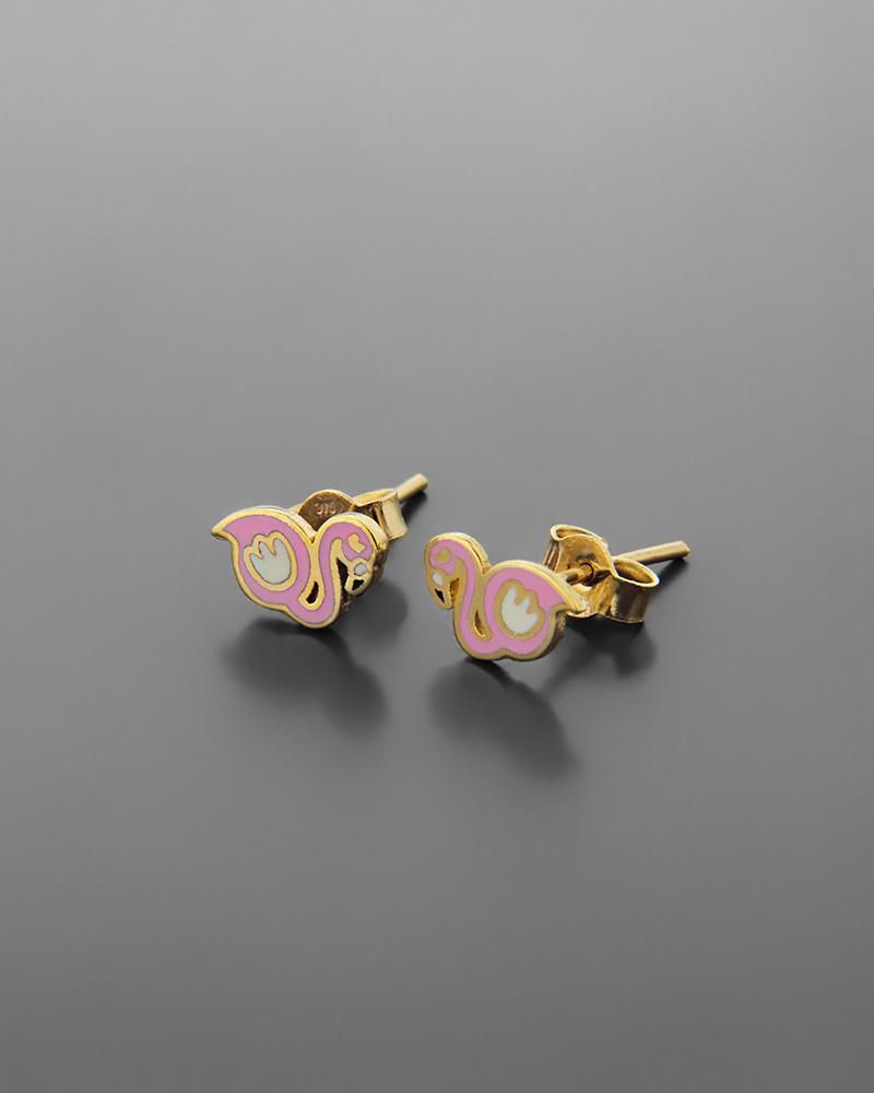 Σκουλαρίκια φλαμίνγκο παιδικά χρυσά Κ9 με σμάλτο   νεεσ αφιξεισ κοσμήματα παιδικά