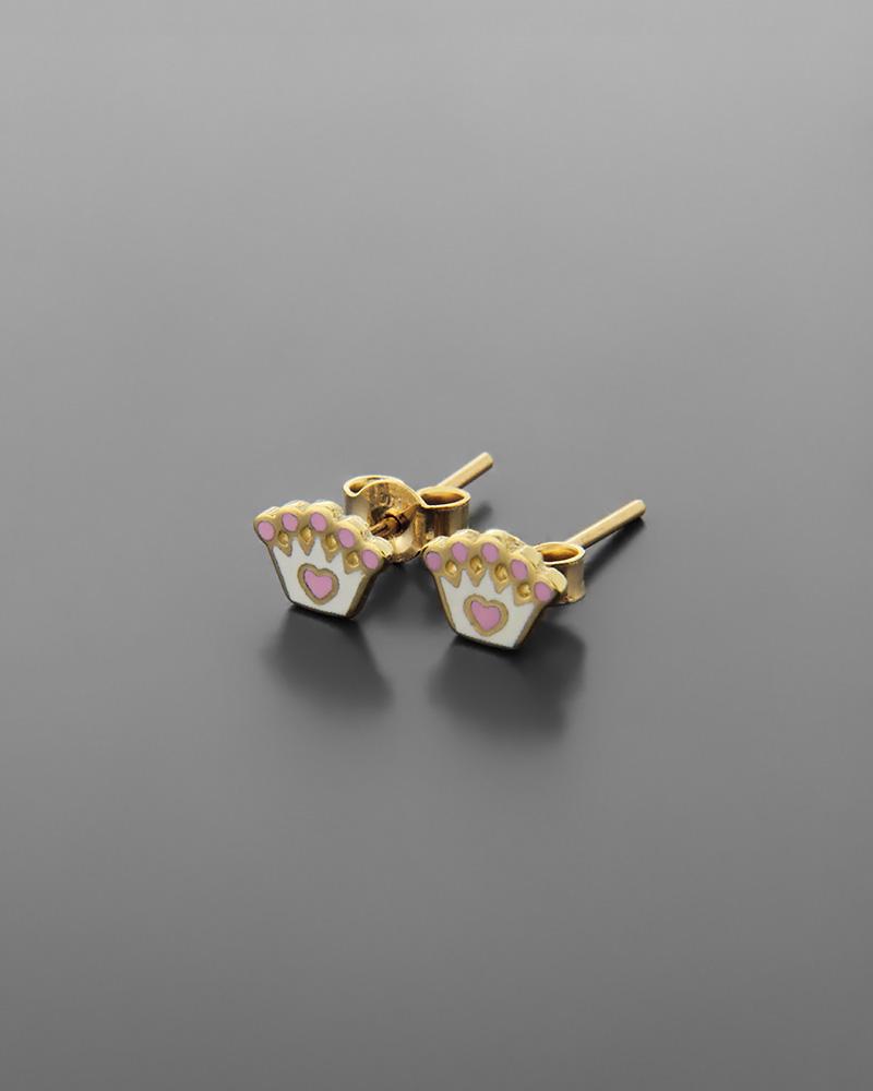 Σκουλαρίκια στέμμα παιδικά χρυσά Κ9 με σμάλτο   νεεσ αφιξεισ κοσμήματα παιδικά