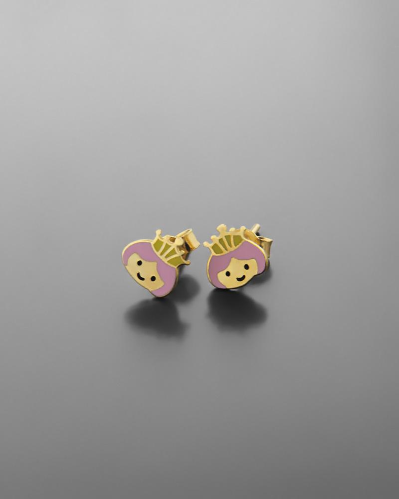 Σκουλαρίκια πριγκίπισσα παιδικά χρυσά Κ9 με σμάλτο   παιδι σκουλαρίκια παιδικά