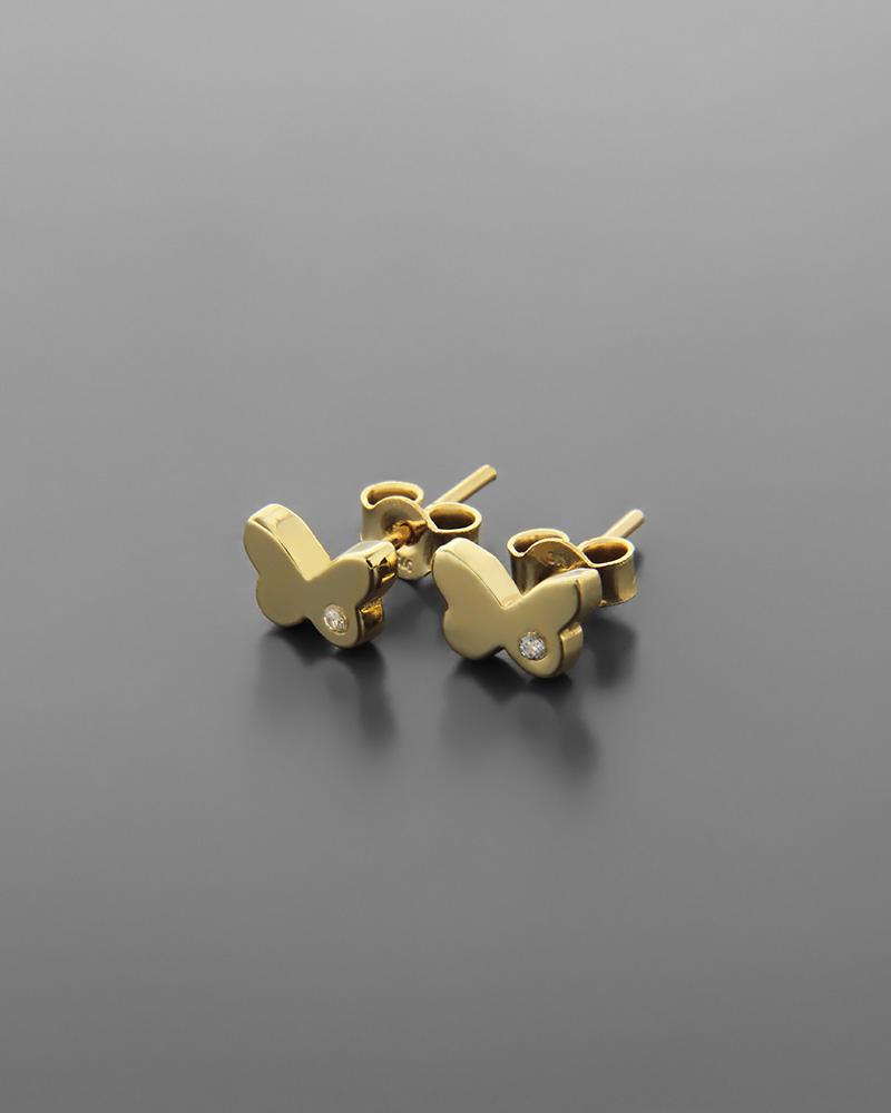 Σκουλαρίκια πεταλούδα χρυσά Κ9 με ζιργκόν   νεεσ αφιξεισ κοσμήματα παιδικά