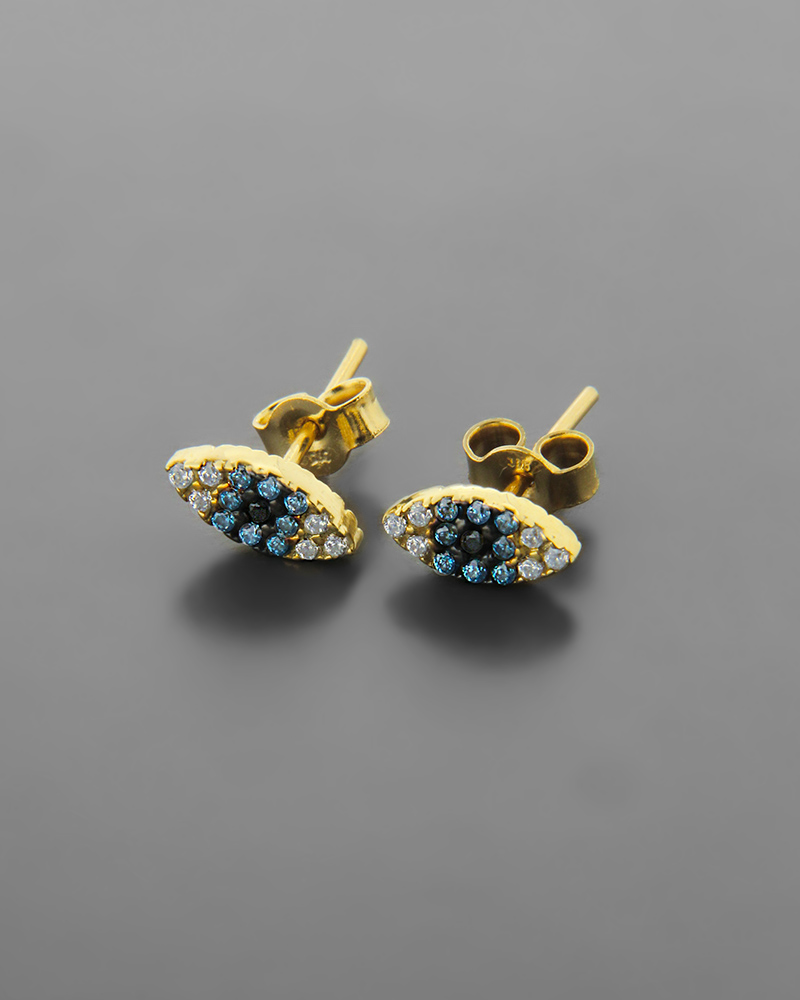 Σκουλαρίκια χρυσά Κ9 ματάκι διακοσμημένα με πολύχρωμα ζιργκόν   νεεσ αφιξεισ κοσμήματα παιδικά