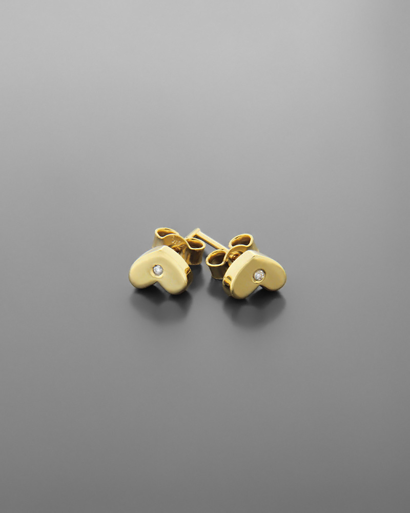 Σκουλαρίκια καρδιά χρυσά Κ9 με ζιργκόν   νεεσ αφιξεισ κοσμήματα παιδικά