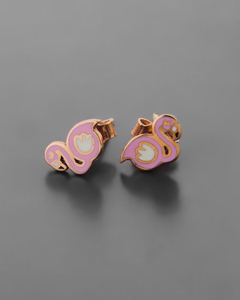 Σκουλαρίκια Κύκνος Ροζ Χρυσό Κ9   νεεσ αφιξεισ κοσμήματα παιδικά