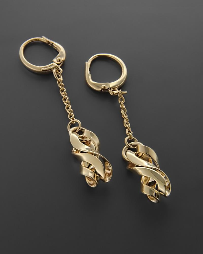 Σκουλαρίκια χρυσά Κ14 με μοτίφ   κοσμηματα σκουλαρίκια σκουλαρίκια fashion