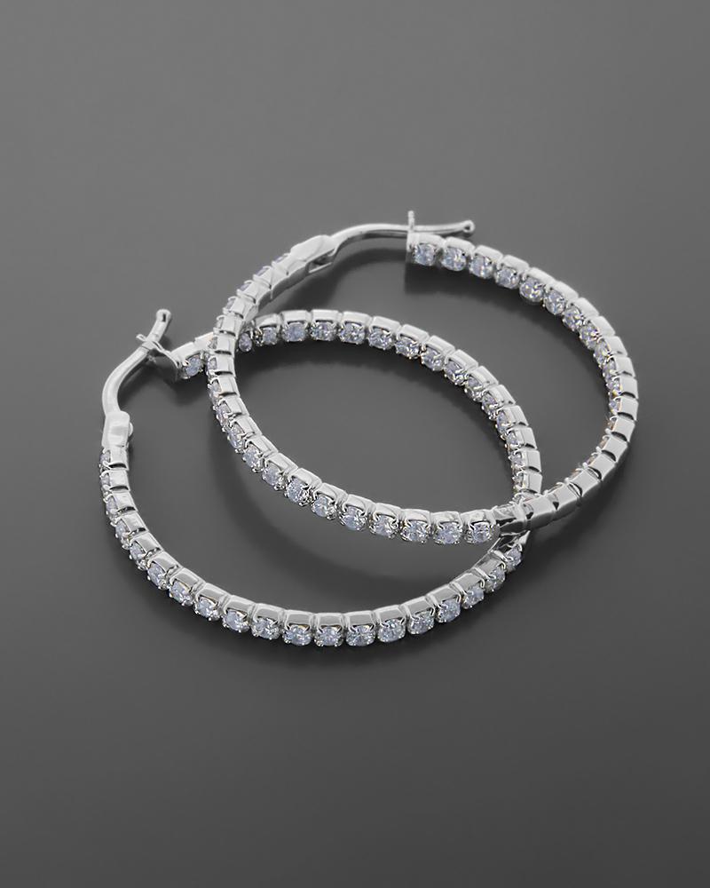 Σκουλαρίκια κρίκοι λευκόχρυσα Κ14 με ζιργκόν   νεεσ αφιξεισ κοσμήματα γυναικεία
