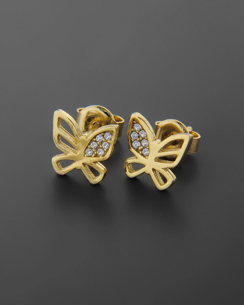 Σκουλαρίκια πεταλούδα χρυσά Κ14 με ζιργκόν   νεεσ αφιξεισ κοσμήματα γυναικεία