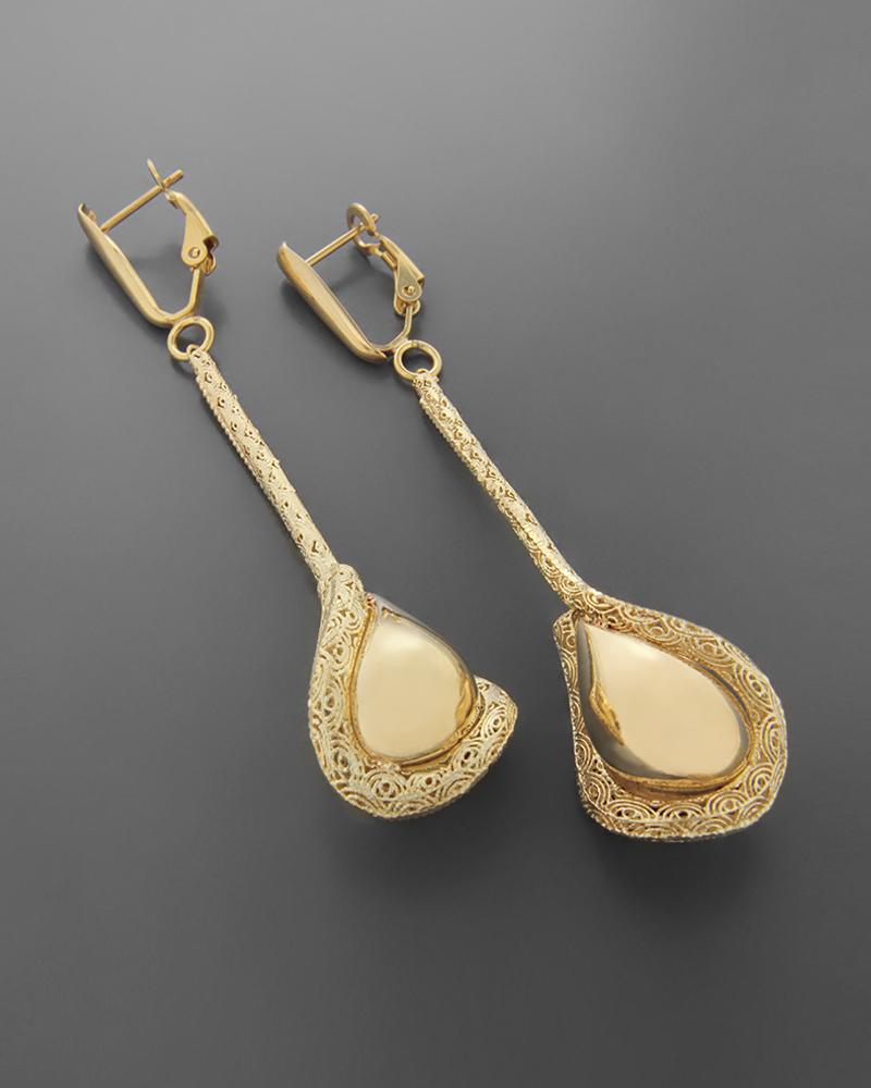 Σκουλαρίκια χρυσά Κ14 δάκρυ   κοσμηματα σκουλαρίκια σκουλαρίκια fashion