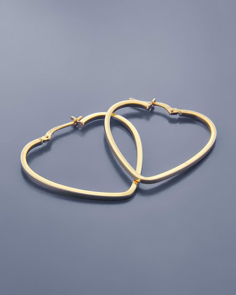 Σκουλαρίκια κρίκοι καρδιά από χρυσό Κ14   νεεσ αφιξεισ κοσμήματα γυναικεία