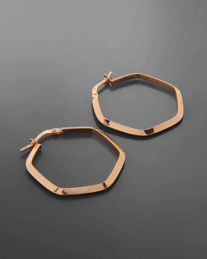 Σκουλαρίκια Κρίκοι Ροζ Χρυσό Κ14   νεεσ αφιξεισ κοσμήματα γυναικεία