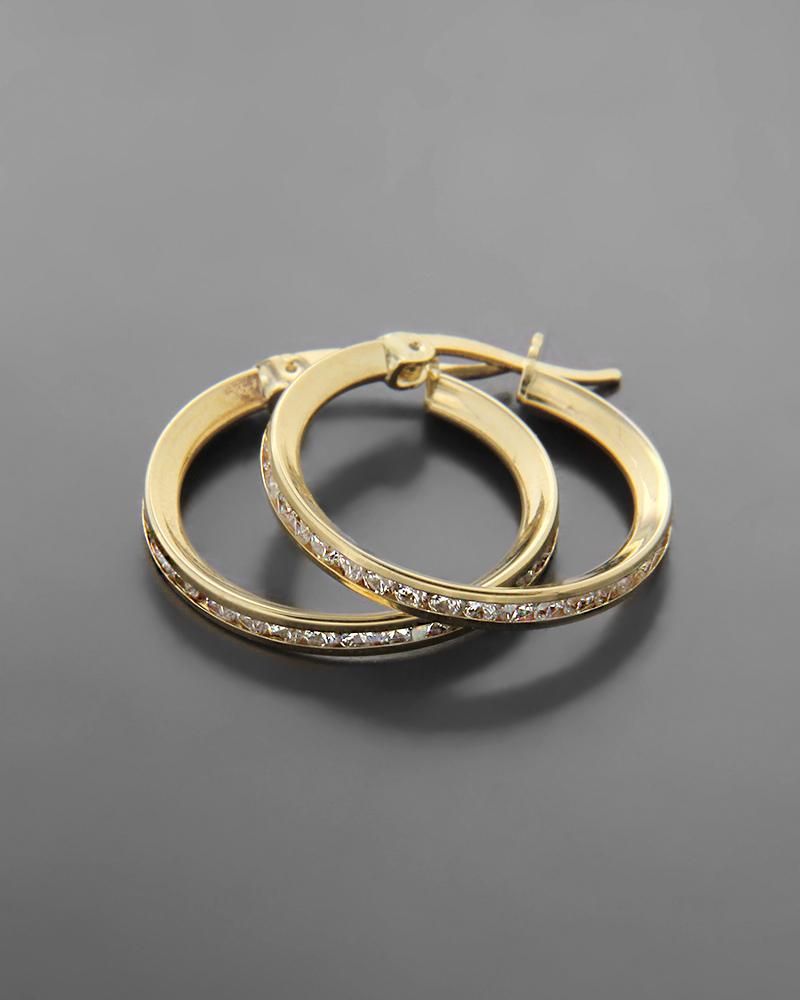Σκουλαρίκια κρίκοι χρυσοί Κ14 με λευκά ζιργκόν   νεεσ αφιξεισ κοσμήματα γυναικεία