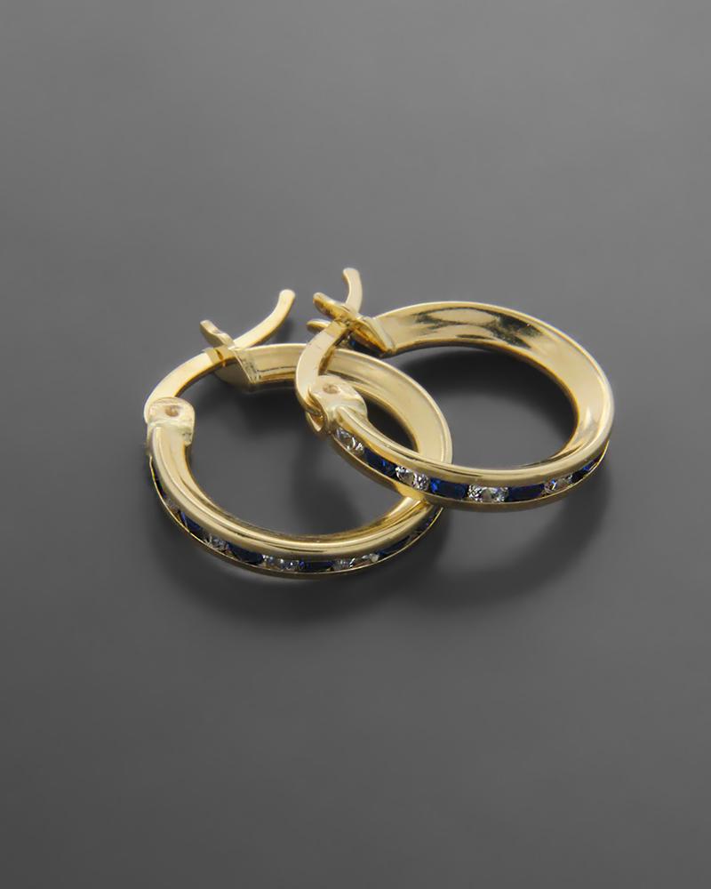Σκουλαρίκια κρίκοι χρυσοί με λευκά και μπλέ ζιργκόν   νεεσ αφιξεισ κοσμήματα γυναικεία