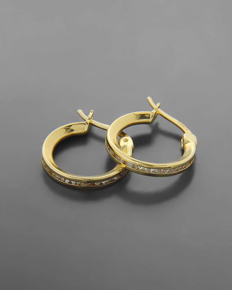 Σκουλαρίκια κρίκοι χρυσοί με λευκά ζιργκόν   νεεσ αφιξεισ κοσμήματα γυναικεία