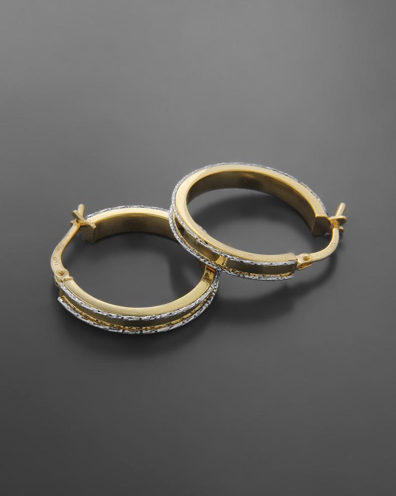Σκουλαρίκια κρίκοι χρυσοί Κ14 με λευκόχρυσες λεπτομέρειες   νεεσ αφιξεισ κοσμήματα γυναικεία