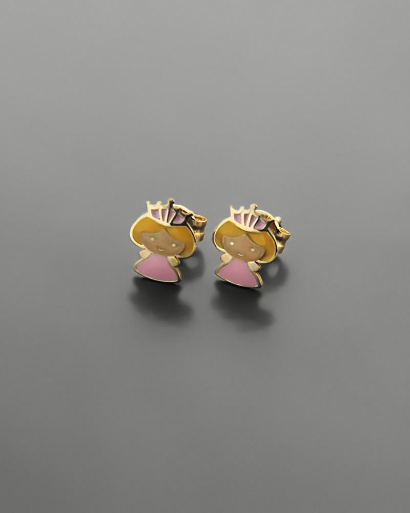 Σκουλαρίκια πριγκίπισσα χρυσά Κ9 με σμάλτο   παιδι σκουλαρίκια παιδικά