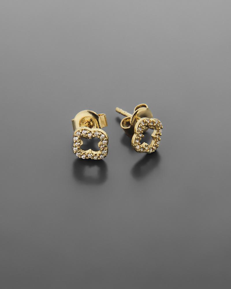 Σκουλαρίκια σταυρός χρυσά Κ14 με ζιργκόν   νεεσ αφιξεισ κοσμήματα γυναικεία