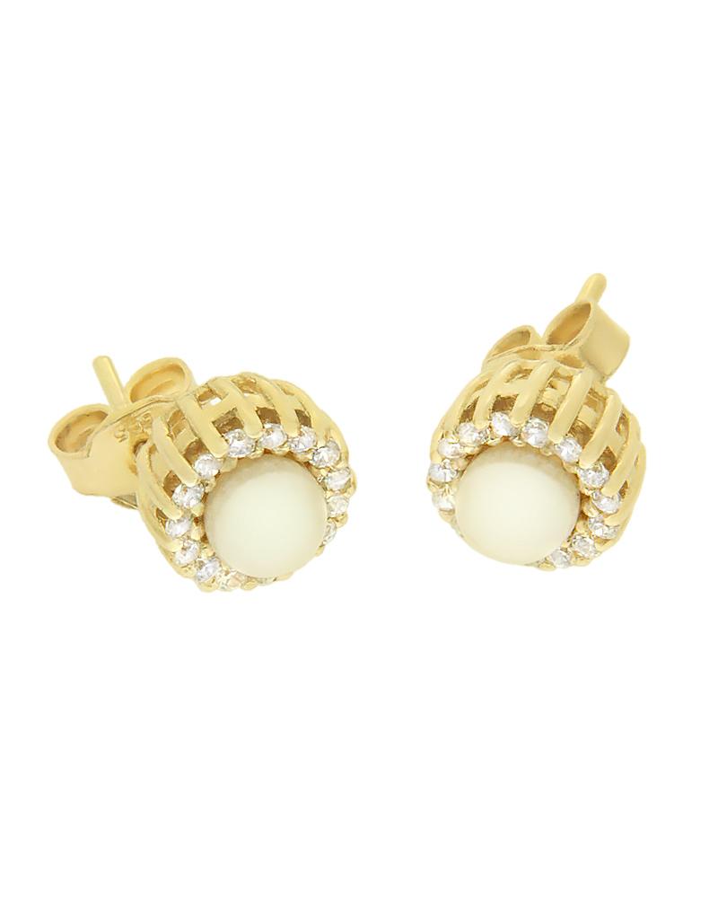 Σκουλαρίκια χρυσά Κ14 με ζιργκόν και μαργαριτάρια
