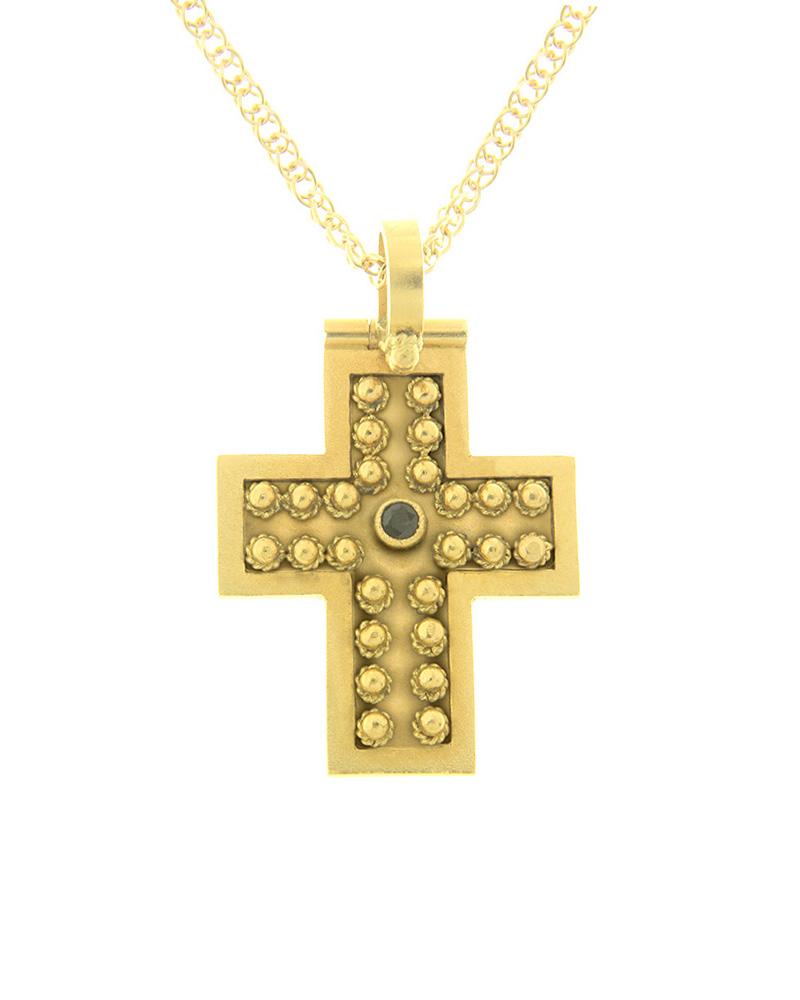 Χειροποίητος Σταυρός Χρυσός Κ22 με μαύρο Διαμάντι