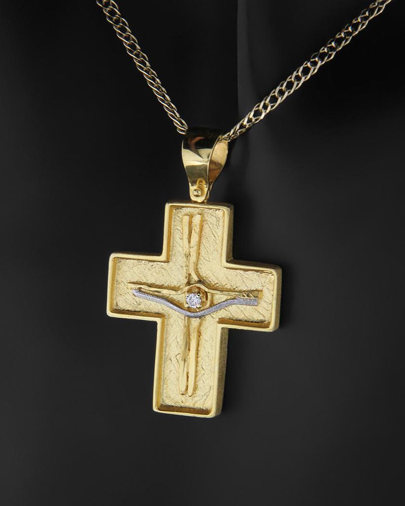 Σταυρός δύο όψεων χρυσός και λευκόχρυσος Κ14 με ζιργκόν   νεεσ αφιξεισ κοσμήματα παιδικά