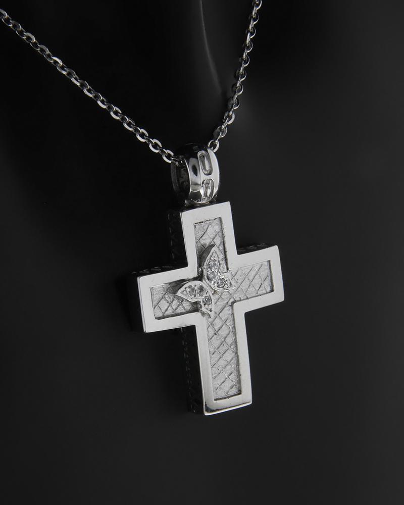 Σταυρός λευκόχρυσος Κ9 με ζιργκόν   νεεσ αφιξεισ κοσμήματα παιδικά