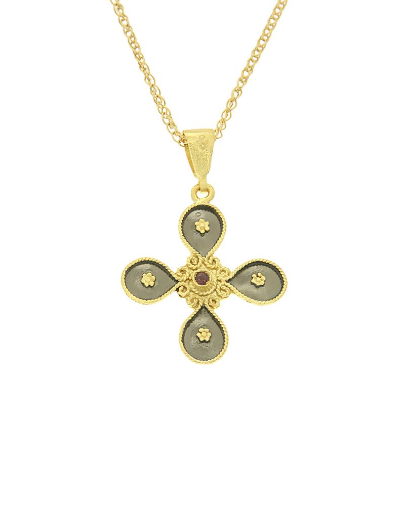 Σταυρός βυζαντινός χρυσός Κ18 με γρανάδα