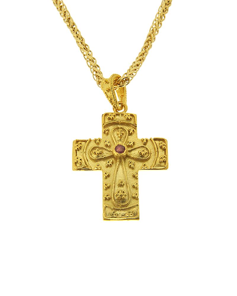 Χειροποιήτος σταυρός βυζαντινός Κ14 με Ρουμπίνι