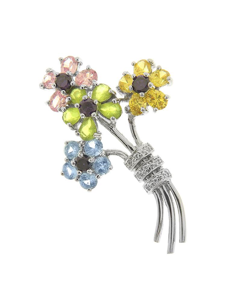 Καρφίτσα λουλούδια λευκόχρυση Κ18 με ζιργκόν