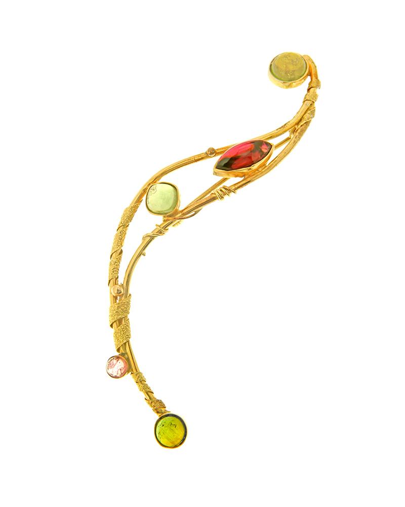 Καρφίτσα χρυσή Κ18 με τουρμαλίνες