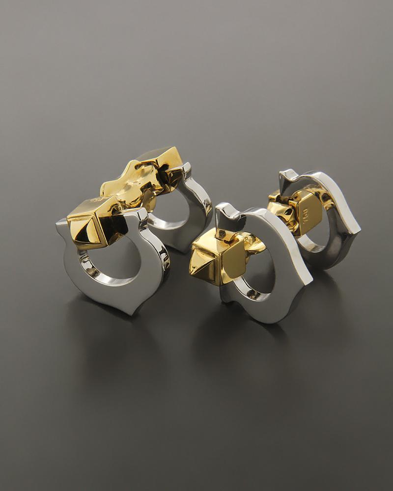 Μανικετόκουμπα από λευκόχρυσο και χρυσό K18   δωρα μανικετόκουμπα
