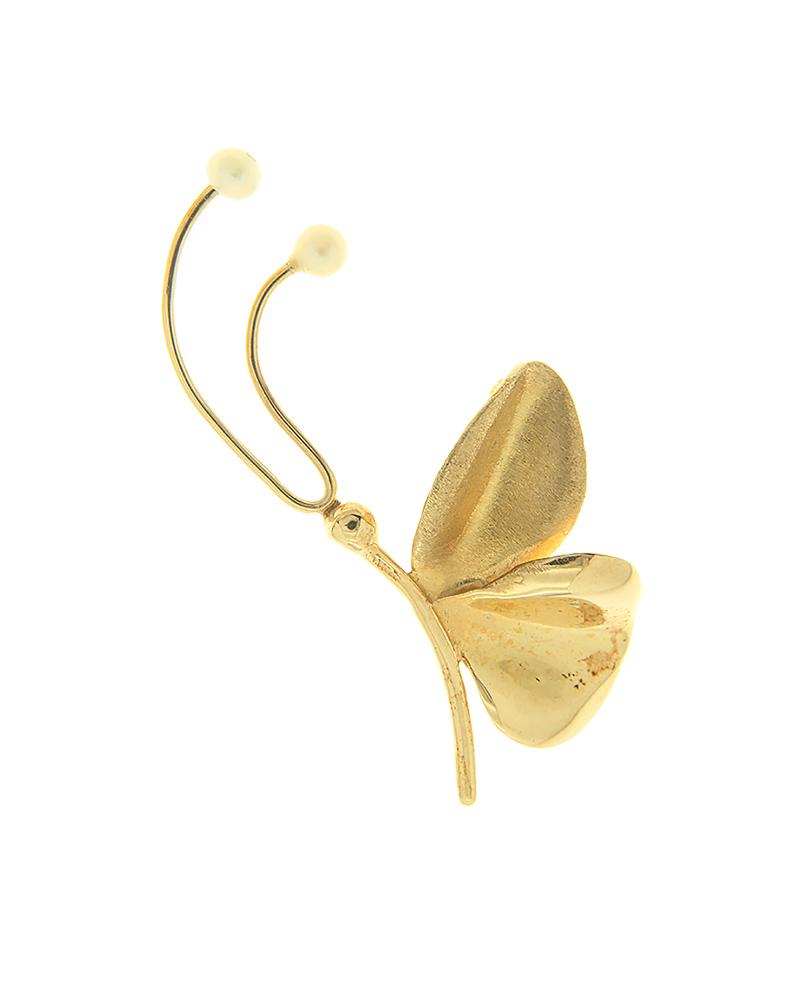 Καρφίτσα πεταλούδα χρυσή Κ14 με μαργαριτάρια