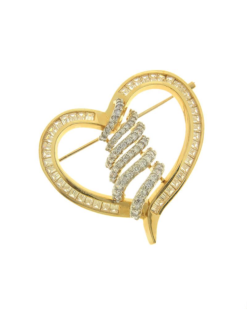 Καρφίτσα καρδιά χρυσή Κ14 με ζιργκόν