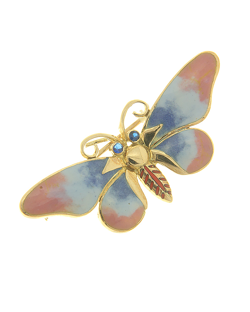 Καρφίτσα πεταλούδα χρυσή Κ14 με σμάλτο και ζιργκόν